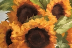 SUNFLOWERS , 2017, oil paint, 12 by 12in.