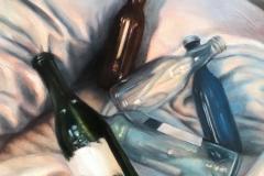 BOTTLES, 2018, oil paint, 14 by 14in.